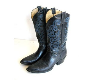 SALE Black Leather Cowboy Boots, Men's Vintage 8.5