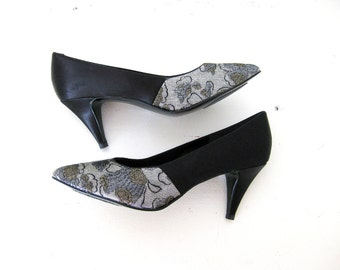 Black Satin Heels, Floral Silver Gold Metallic Toes, Pumps, 9