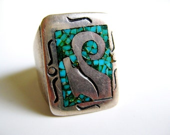 TOMMY SINGER Navajo Native American Men's Sterling Silver Ring, 60's Turquoise Chip Inlay Overlay Men's Vintage Ring
