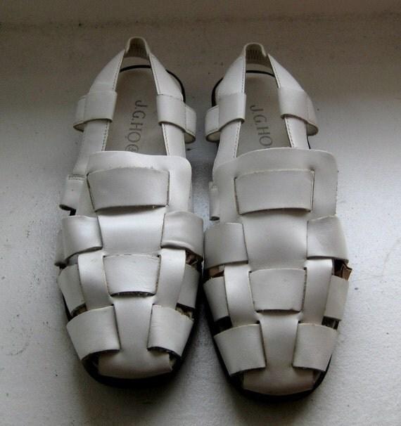 Woven Leather Sandals, White Sandals, 8 - SHOE BLOWOUT SALE