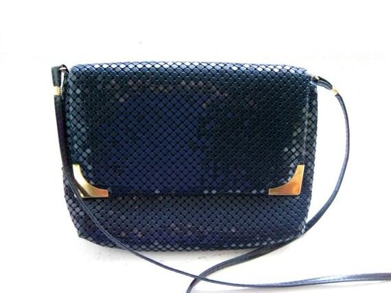 vintage la regale navy metal sequin shoulder purse. Black Bedroom Furniture Sets. Home Design Ideas