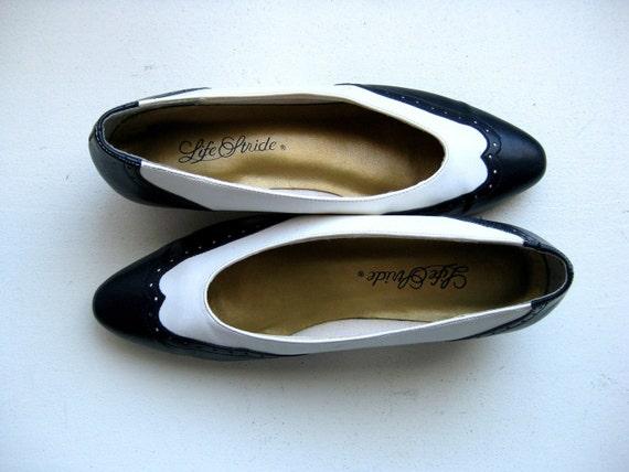 Wingtip Spectator Shoes, Vintage Pumps,Black and White, 7.5 - SHOE BLOWOUT SALE
