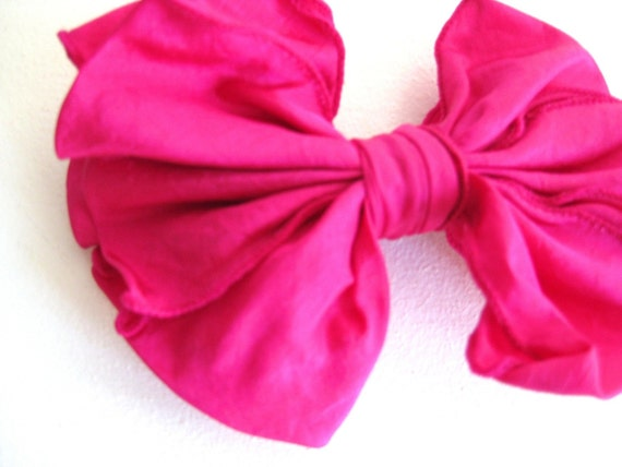 80s Hot Pink Barrette, Bow Hair Clip