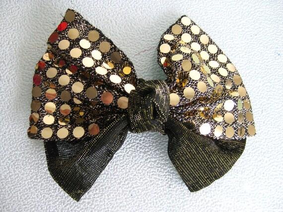 80's Hair Barrette, Gold Sequin Bow Clip