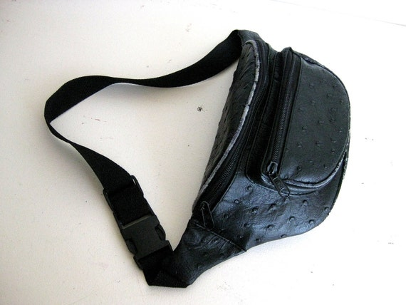 SOLD - Black Leather Fanny Pack