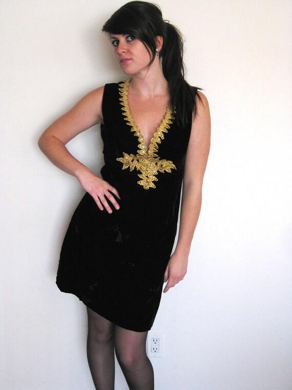 RESERVED 60s Black Velvet Dress with Gold Jeweled Neckline