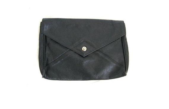 Black Leather Clutch Envelope