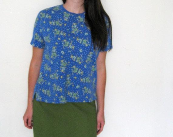 Blue Floral Top T Shirt Blouse by Liz Claiborne