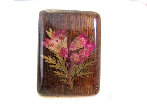 Wood Cocktail Ring, Dried Flower Jewelry, sz 8, 8.5