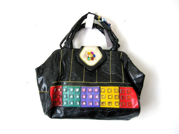 80s Bedazzled Purse, Black Leather Satchel with Colorful Gems, MEDIUM Handbag
