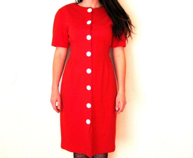 Red Pencil Dress Front Button Minnie Mouse Dress Medium