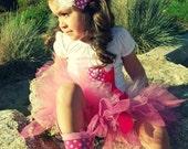 Pink Birthday Tutu and Shirt with Cupcake Headband - Pretty in Pink - Little Cupcake