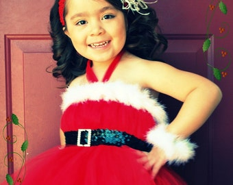 Santa Baby Tutu Christmas Dress and Headband 6 piece set