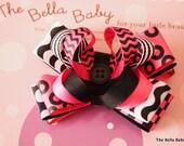 The Bella Baby Hair Bow Clip Clippie W/No Slip Grip Funky Pink Black White Polka Dot