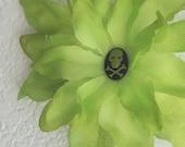 The Bella Baby Lime Green Skully Skull Flower Alligator Hair Clip Halloween Crossbones