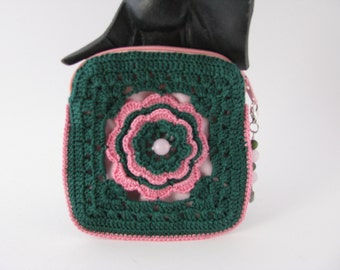 Petite Rose Pouch in Forrest Green and Warm Pink and fully lined