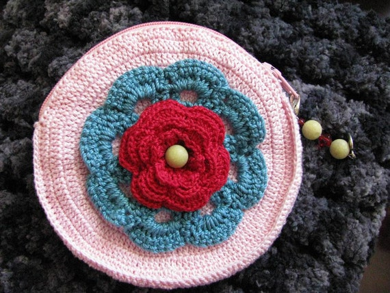 Petite Marie Pouch in Pink, Teal and Red