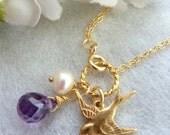 Custom Stone Bracelet - Purple Amethyst CZ, Sparrow Bird, Pearl Bracelet in 14k Gold Filled Chain