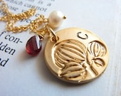 Custom Initial and Birthstone - Garnet, Custom Initial Gold Engraved Magnolia Round Charm, Pearl Necklace in 14k Gold Filled Chain