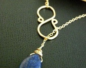 LAPIS LAZULI Golden Infinity Wire Lariat Necklace in 14kt gold filled chain neckclace
