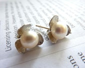 BRIDAL JEWELRY - Silver Orchid Flower Fresh Water Pearl Earrings