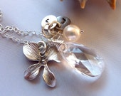 Custom Stone and Initial - Swarovski Rock Crystal, 2 Custom Initial Disc, Orchid, Pearl Necklace in Sterling Silver Chain