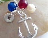 SAIL AWAY - Silver Anchor, Custom Initial Disc, Blue and Ruby Red Agate, Pearl Necklace in Sterling Silver Chain