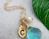 Custom Stone and Initial - Blue Aquamarine Quartz, Custom Initial Leaf, Pearl Necklace in 14k Gold Filled Chain