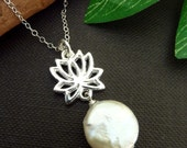 Coin Fresh Water Pearl Silver Lotus Necklace in Sterling Silver Chain