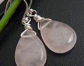 Simple Rose Earring - Large ROSE QUARTZ Sterling Silver Earrings