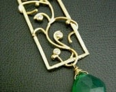 SALES - Green Onyx 16kt Golden Cubic Zirconia Flame Necklace - in a 14k Gold Filled Chain