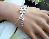 Custom Stone, Custom Initial Disc, Trio Orchid Flowers Sterling Silver Chain