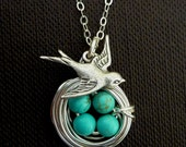 Original Version - 4 Eggs Turquoise Bird Nest, Sparrow Bird Necklace in Sterling Silver Chain