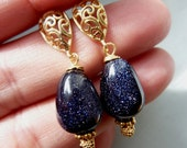 Night Star Stone Gold Vermeil Earrings