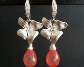 Grapefruit Pink Orange Chalcedony, Tiger Lily Flower with White Gold Plated CZ Earrings