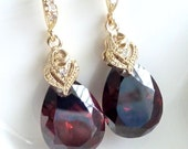 SALES - Very Rare High Quality Mocha Brown Teardrop Mocca Cubic Zirconia with Gold Plated CZ Bail and Earrings