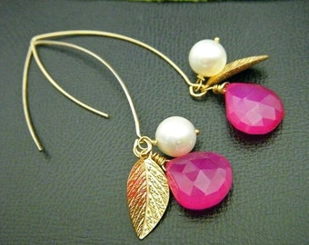 SPRING COLLECTIONS - Hot Pink Chalcedony Gold Leaf Pearl Long Lotus Petal Earrings