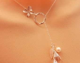 SNOW WHITE GARDEN - Swarovski  Clear Crystal Orchid Leaf Sterling Silver Chain Lariat Necklace