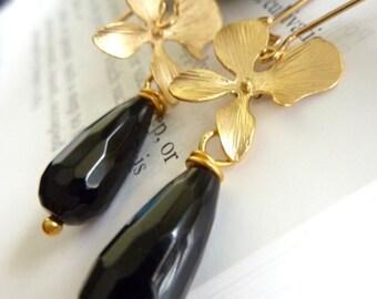 Midnight Blossom Earrings - Black Onyx Golden Orchid Flower Earrings