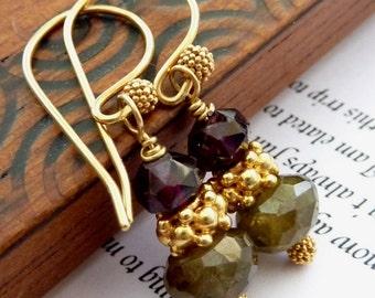 Green and Red Garnet GOLD VERMEIL Earrings