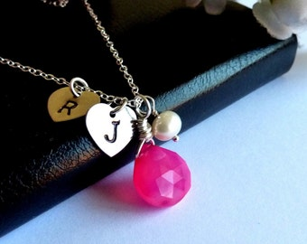 SWEET VALENTINE - Custom Initial and Stone- Hot Pink Chalcedony Pearl 2 Initial Silver Hearts Sterling Silver Necklace