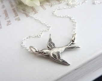 Cute Sparrow Bird Necklace in Sterling Silver Chain (Gold version is also available)