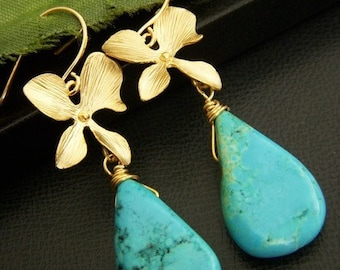 Blue Turquoise Howlite 16K Golden Orchid Flower Earrings