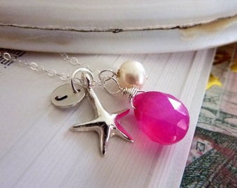 Custom Stone and Initial Necklace - Hot Pink Chalcedony Pearl Initial Disk Sterling Silver Starfish in Sterling Silver Chain Necklace