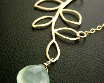 GREEN PERU Chalcedonyv 16kt Gold Plated Leaf Necklace in 14k Gold Filled Chain