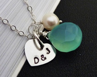PERSONALIZED Silve Heart Charm White Pearl Aqua Blue Chalcedony Necklace in Sterling Silver Chain
