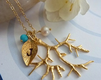 Custom Initial and Birthstone - Golden Branch Turquoise Pearl Custom Initial Leaf Necklace in 14k Gold Filled Chain