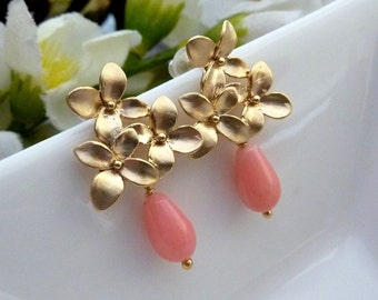 Soft Pink Coral Gold Flower Clusters Earrings