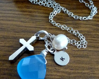 Be Blessed Custom Stone and Initial Necklace - Blue Chalcedony, Cross, Custom Initial Disc, Pearl Neckace in Sterling Silver Chain