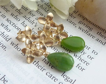 Chrysoprase Golden Flower Cascade Blossom Earrings (Silver Version is also available)